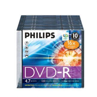 DVD-R Philips 4.7GB 16X Slim Case 10